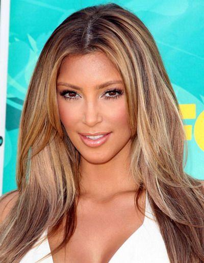 Celebrity Hair Highlights 2013 Hairstylesnews Com Kim Kardashian Hair Dark Blonde Hair Color Kim Kardashian Long Hair