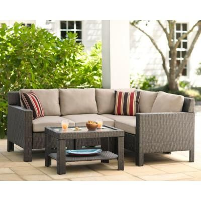799 Hampton Bay Beverly 5 Piece Patio Sectional Seating Set With Beige Cushions 65 610233 At The Home Depot