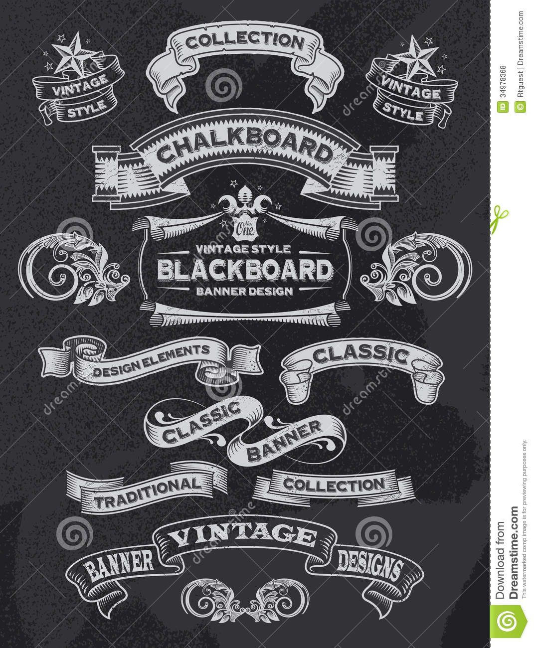 Download free vintage ornaments vintage ornaments and iders - Chalkboard Banners Retro Calligraphic Vintage Ornament Design Elements