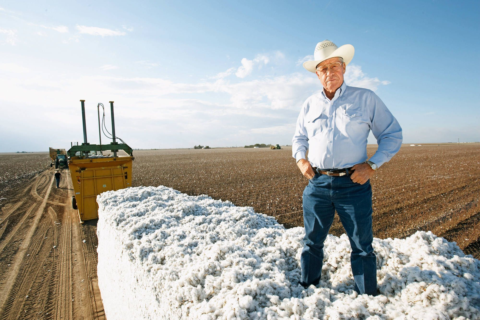 Cotton farmer Jerry Mimms from Lubbock, Texas with his harvest