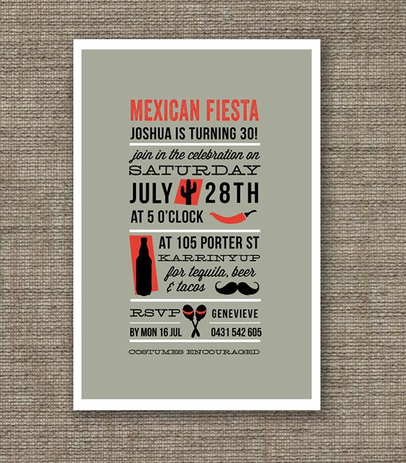 Mexican Fiesta Theme Birthday Invitation Printable PDF For Th - Birthday invitation 30 years old