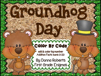 Groundhog Day Color by Code This file includes 10 math color by code (color by number) pages that cover the basic addition facts with sums of 0-20. The common core standards covered are listed on each page. Use of these pages encourages and reinforces skills taught; yet the students are having fun while learning. My kiddos love these sheets!  1st and 2nd grade TeachersPayTeachers.com $