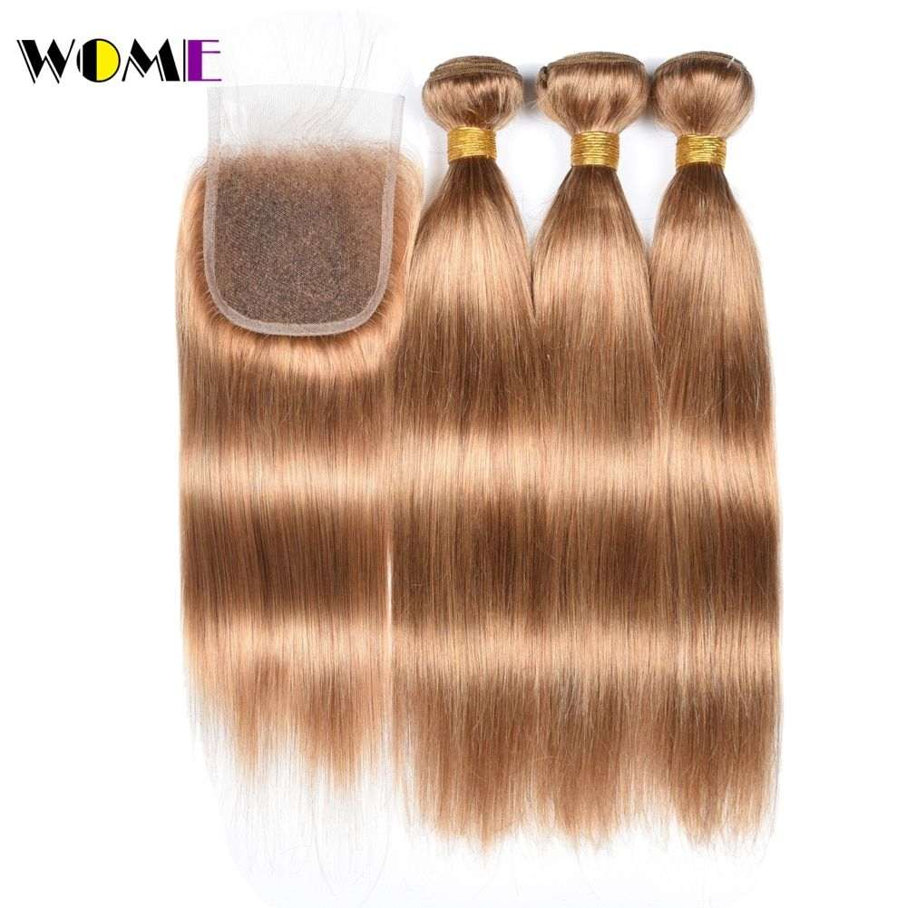 Wome #27 Peruvian Straight Hair With Closure Honey Blonde Color Human Hair Weave 3 Bundles With 4x4 Lace Closure Non Remy Hair Hair Extensions & Wigs