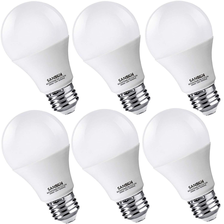 A19 Led Light Bulbs 60 Watt Equivalent Sansun 3000k Soft White Non Dimmable 6 Pack In 2020 Led Light Bulbs Light Bulbs Led Bulb