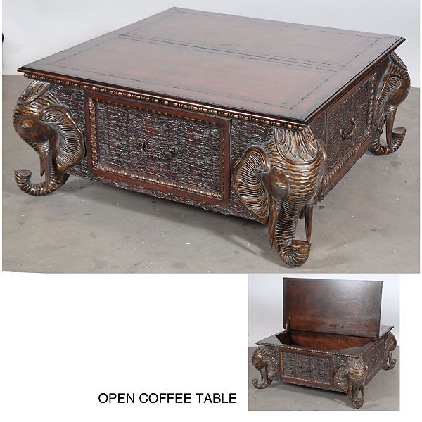 elephant table | elephant coconut coffee table - 47l x 47d x 21h