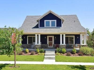 Dark blue house white trim google search house - White house with blue trim ...
