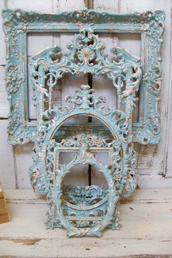 Blue ornate frame grouping hint of aqua with white accents ...