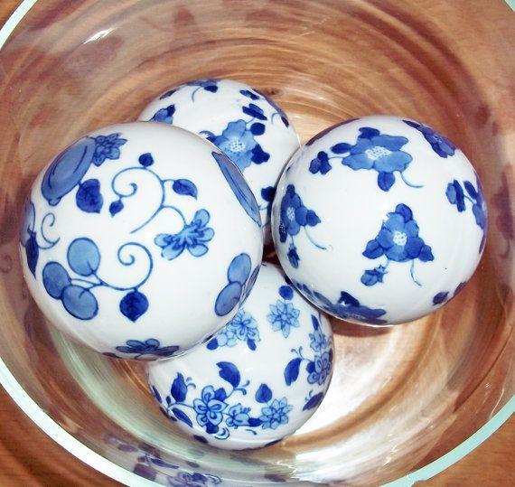 Decorative Balls For Bowls Australia 4 Vintage Blueandwhite Handpainted Porcelain Balls  Decorative