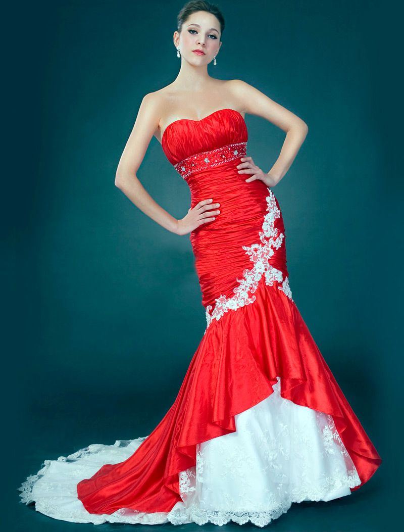 white and red bridesmaid dresses sleeveless | Top 50 White and Red ...