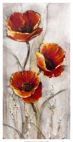 Art Print: Red Poppies on Taupe Wall Art by Tim O'