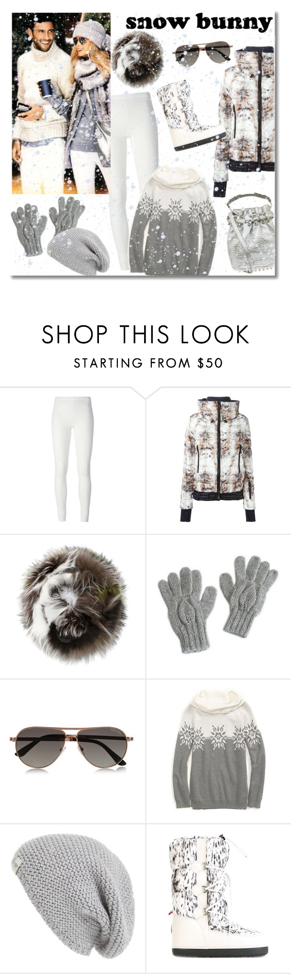 """""""Snow Bunny"""" by junglover ❤ liked on Polyvore featuring Rick Owens Lilies, Moncler Grenoble, Yves Salomon, NOVICA, Tom Ford, Tommy Hilfiger, UGG Australia, polyvoreeditorial, polyvorecontest and winterwhite"""