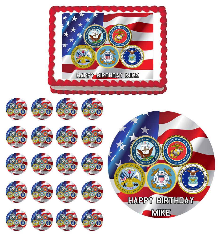 US Armed Forces Air Marine Corps Navy Edible Birthday