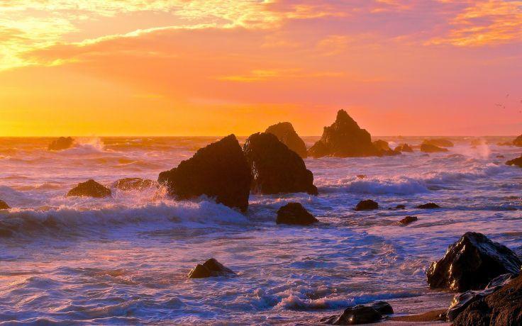 Sunset Sea Rocks Waves Landscape Ocean Wallpaper Background Beautiful Ocean Pictures Ocean Pictures Ocean Wallpaper