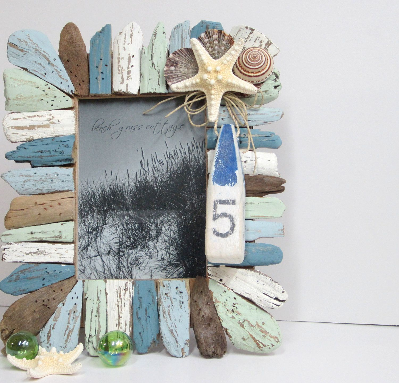 Beach Decor Driftwood & Seashell Frame Nautical Decor Shell Frame
