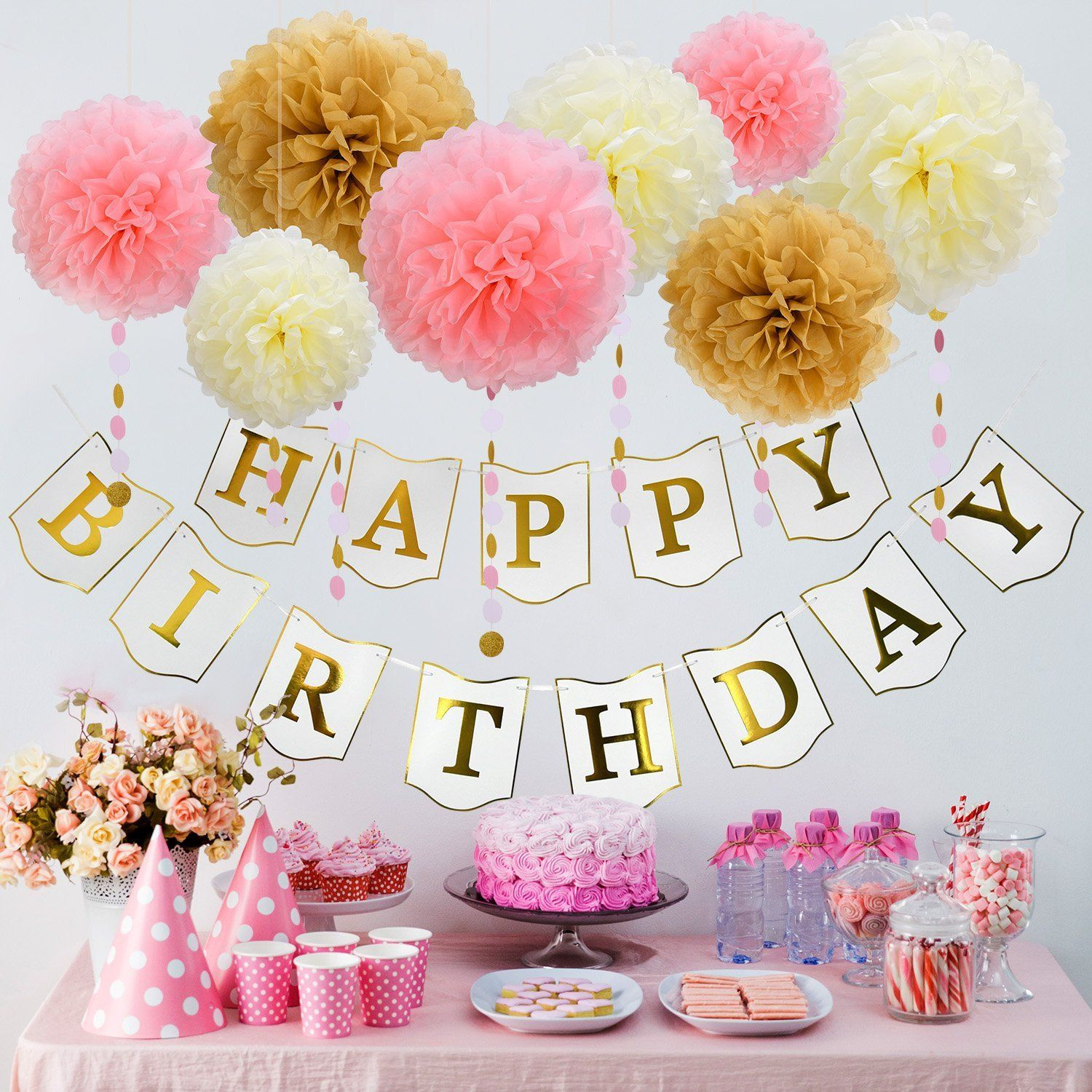 Mudder Happy Birthday Bunting Banner Circle Dot Garland with ...