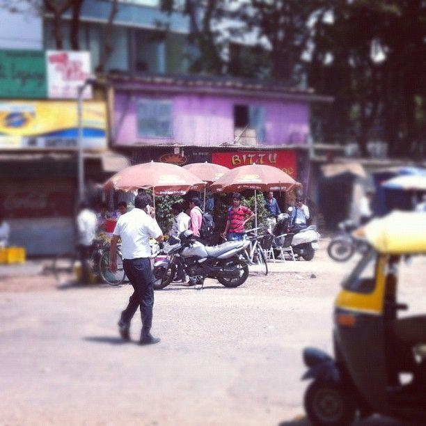 "@richardbeau's photo: ""#umbrella #cafe #tuktuk #mumbai #street"""