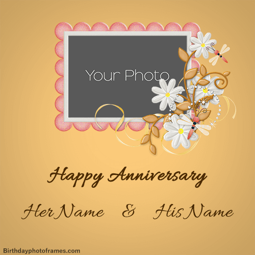 Happy Anniversary Card With Name Edit Happy Anniversary Cards Happy Wedding Anniversary Wishes Happy Anniversary Wishes