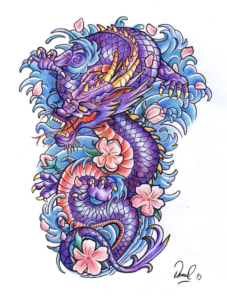 Colorful Traditional Dragon With Flowers Tattoo Design Japanese Dragon Tattoo Japanese Dragon Tattoos Dragon Tattoo Colour