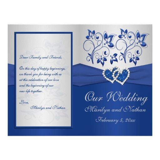 Royal Blue And Silver Floral Heart Wedding Invitations