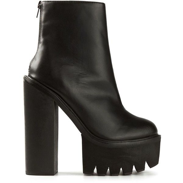Jeffrey Campbell Mulder Platform Boots (1.185 HRK) ❤ liked on Polyvore featuring shoes, boots, black, platform shoes, black leather boots, kohl shoes, leather platform shoes and platform boots