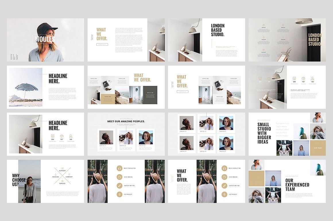 WOULES Powerpoint Template Template - Awesome logo presentation template scheme