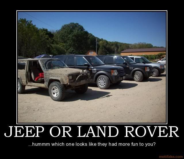 Jeep Vs Landrover Lmao Land Rover Jeep More Fun