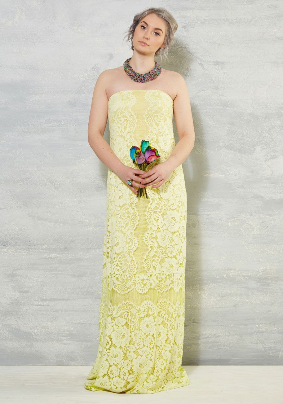 Yellow dress to wedding  Pointillism the Way Dress  ModCloth Floral lace and Stylish