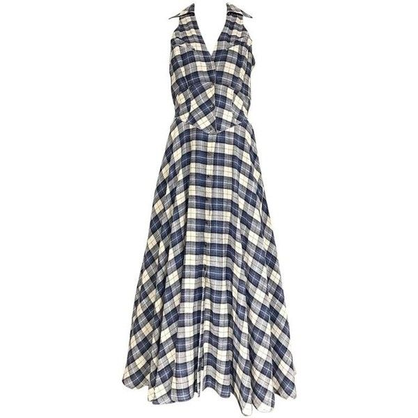 Preowned 1990s Thierry Mugler Blue And White Plaid Vintage 90s Dress (9.999.745 IDR) ❤ liked on Polyvore featuring dresses, cocktail dresses, white, vintage cotton dress, v neck dress, v neck summer dresses, cotton summer dresses and v neckline dress