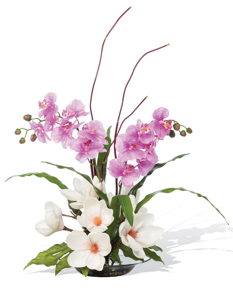 Magnolias Orchidssilk Flower Arrangement Home Sweet Home
