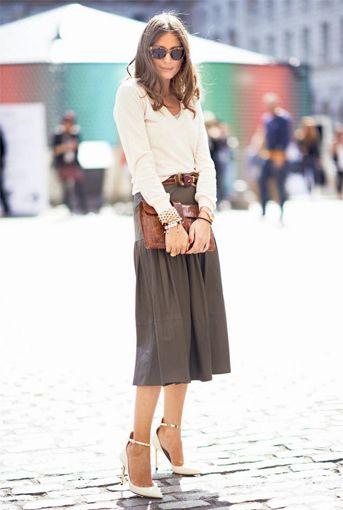 basic skirt/white blouse