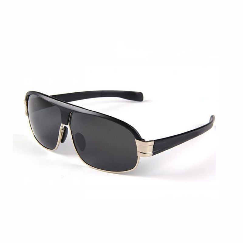 Polarized Sunglasses For Outdoor Sports Metal Wrap Silver Frame Grey Lens