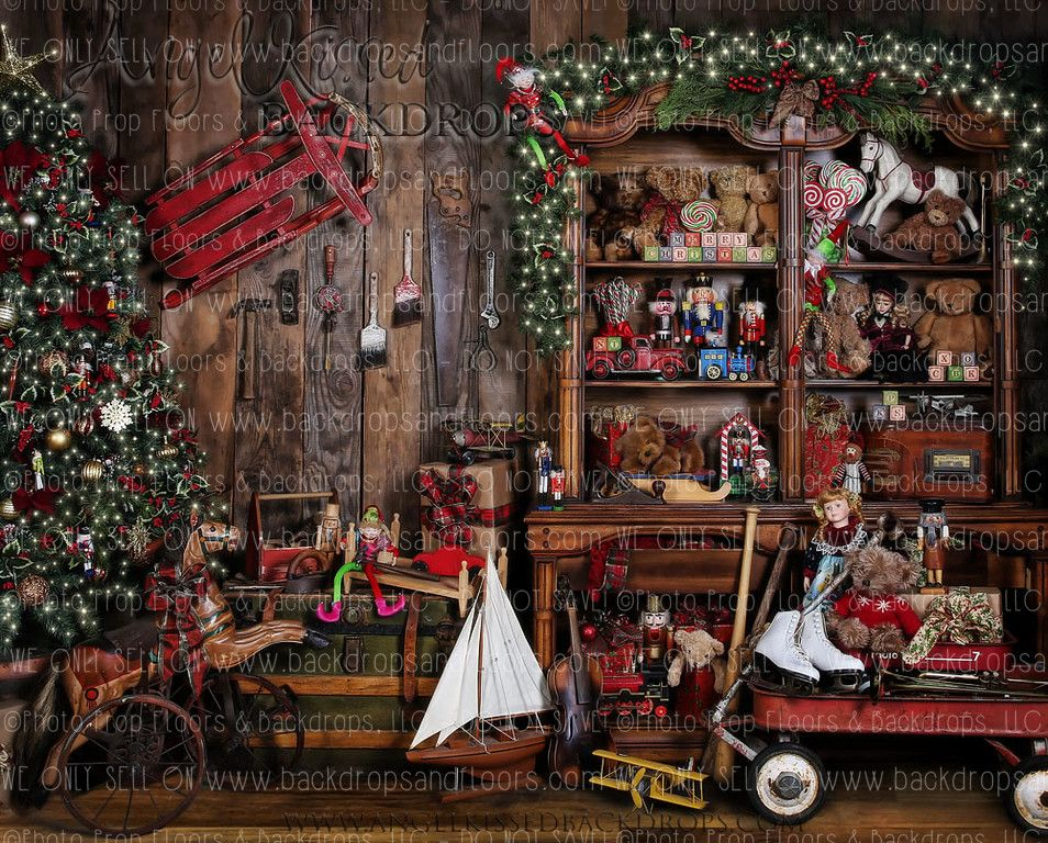 Santa S Workshop 3 10x8 Horizontal Design Santa S Works Santas Workshop Christmas Backdrops Christmas Settings