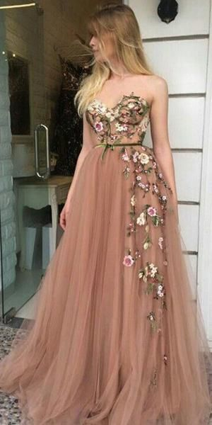 Tulle Applique Strapless A Line Sweetheart Formal Long Prom Dresses