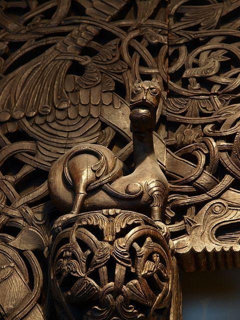 Door of a stave church Historisk Museum, Oslo, Norway