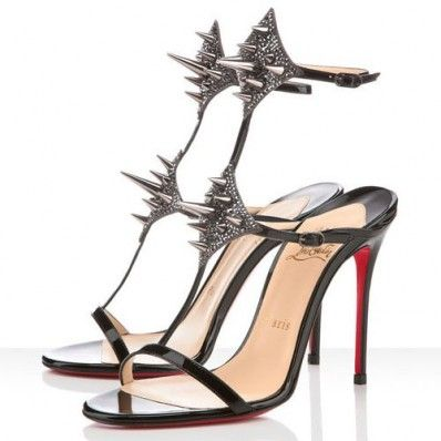 christian louboutin Lady Max 100mm Patent Leather Sandals Black