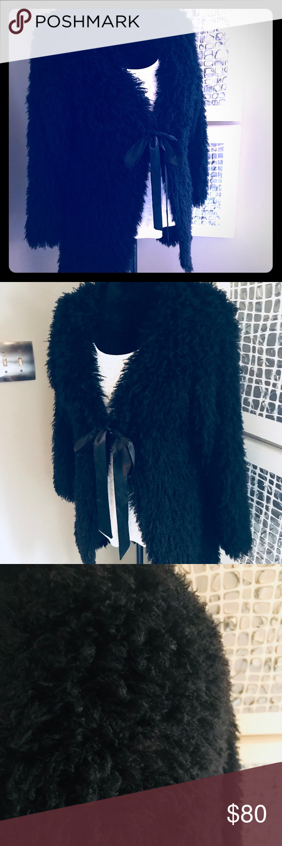 Nwot faux fur black tie coatjacket in my posh closet