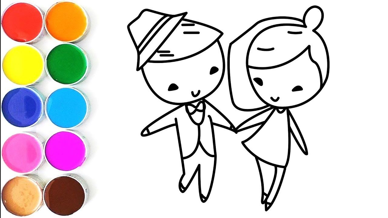 How To Draw Little Bride And Groom Coloring Pages Videos For Kids