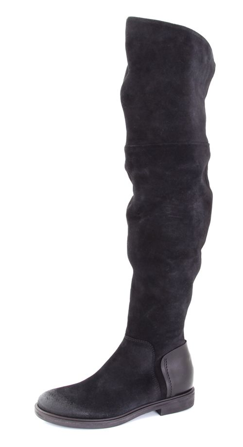 Vic OTK Black Suede and Leather Boot