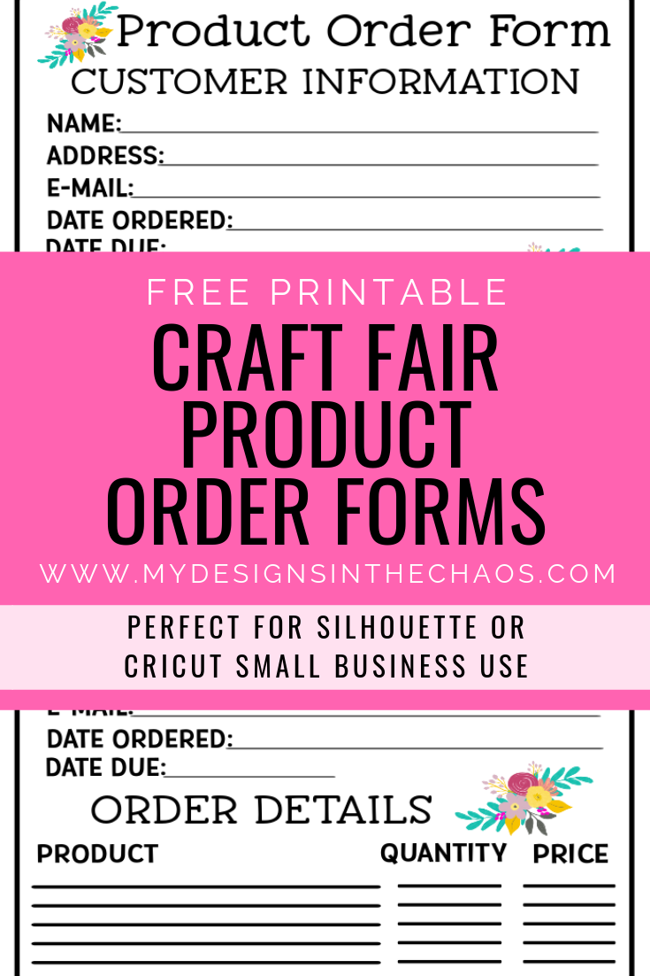 Printable Craft Fair Product Order Form #craftfairs