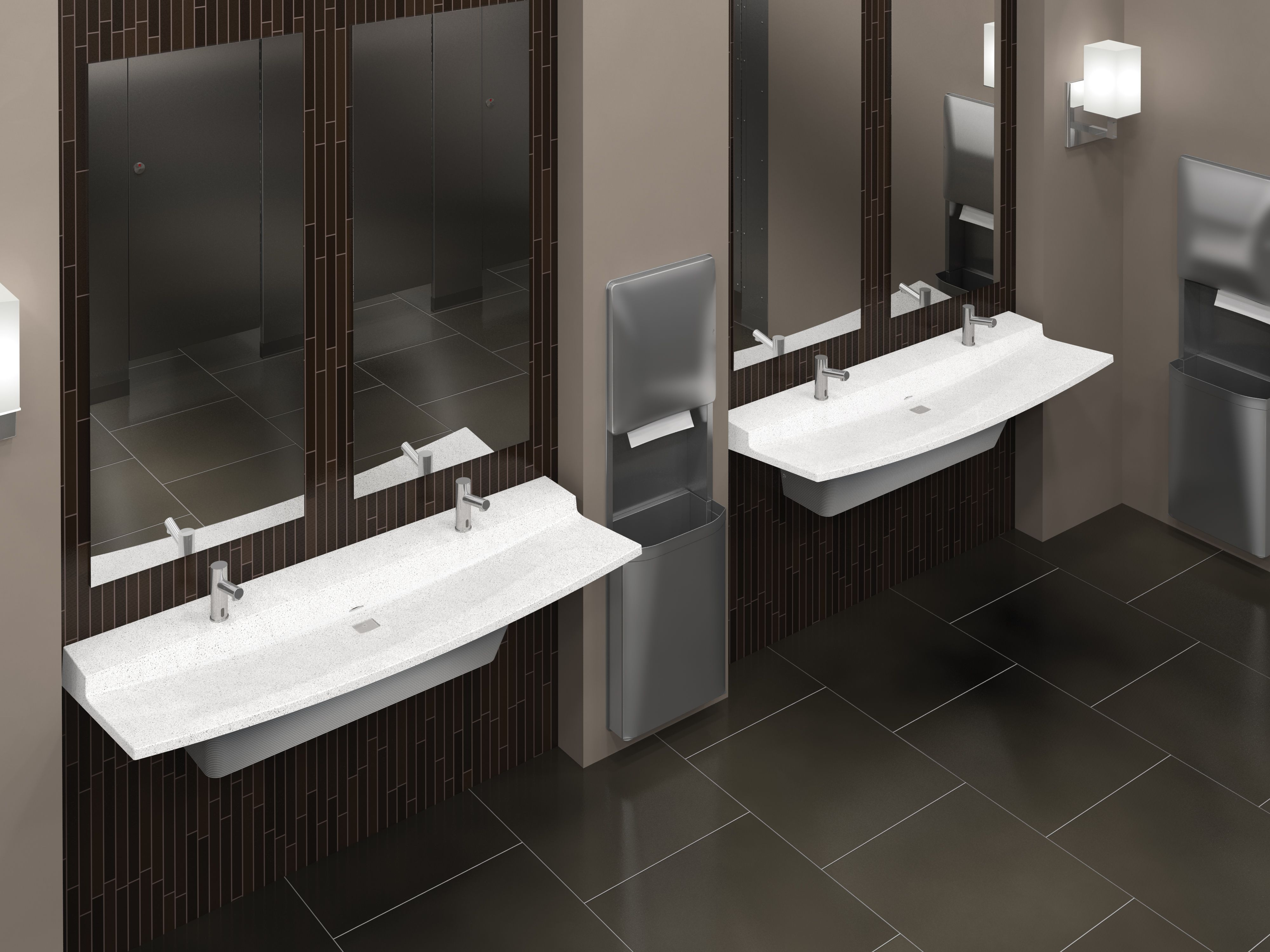 Dark And Light Restroom Featuring Two Station Verge LSeries - Business bathroom supplies