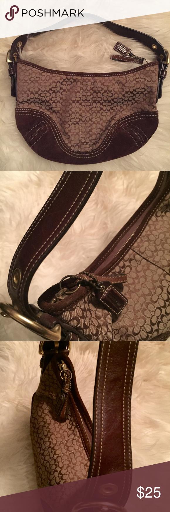 02e66cee2c2d Authentic Coach Handbag Authentic Coach Handbag. Brown and gold CC logo  canvas under the arm