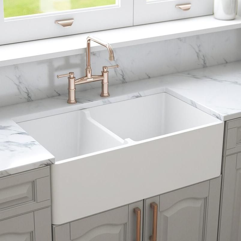 Crestwood 33 Fireclay Farmhouse Sink 50 50 Double Bowl White Cw Cl 332 Dbl White Farmhouse Sink Kitchen Fireclay Farmhouse Sink Best Kitchen Sinks