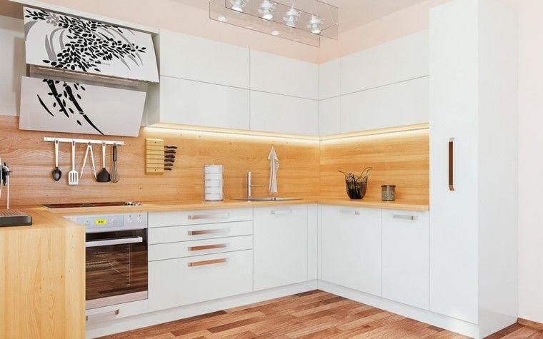 bonita cocina moderna con laminado de madera DECORACIÓN