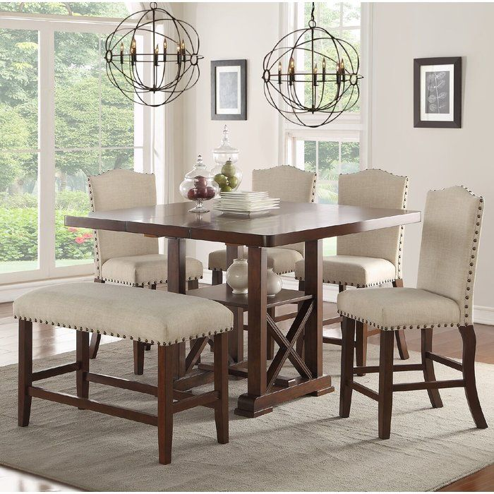 Chevaliers 6 Piece Counter Height Dining Set Modern Dining Room Set Counter Height Dining Sets Counter Height Dining Table