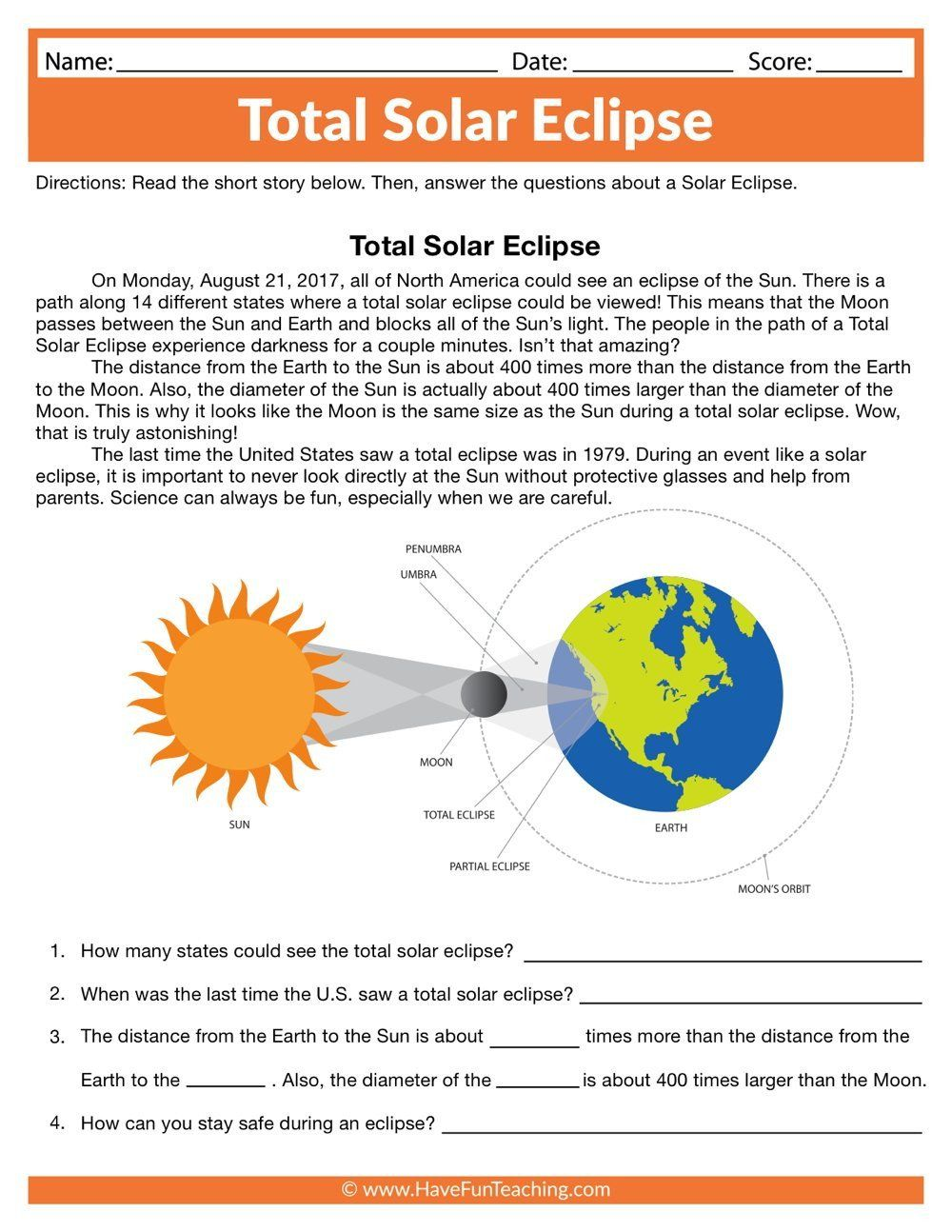 Eclipse Worksheets For Kids Total Solar Eclipse Worksheet Reading Worksheets Solar System Worksheets Have Fun Teaching