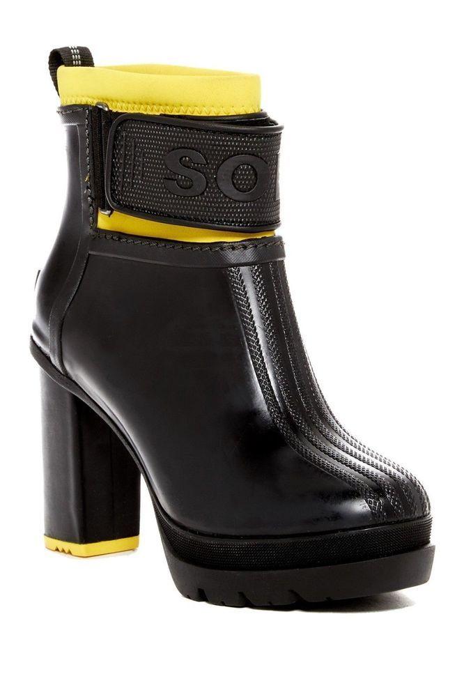 b680a654a3c SOREL Medina III Heel Rubber Rain Winter Boots Ankle Booties Black Yellow  9.5M