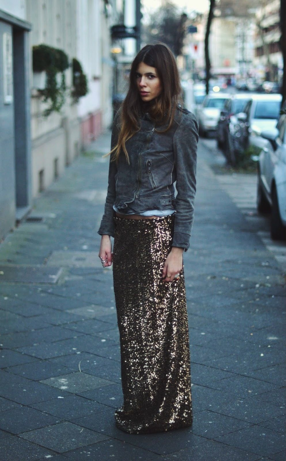 — Leatherjacket: muubaa. Glitterskirt: Gina Tricot...