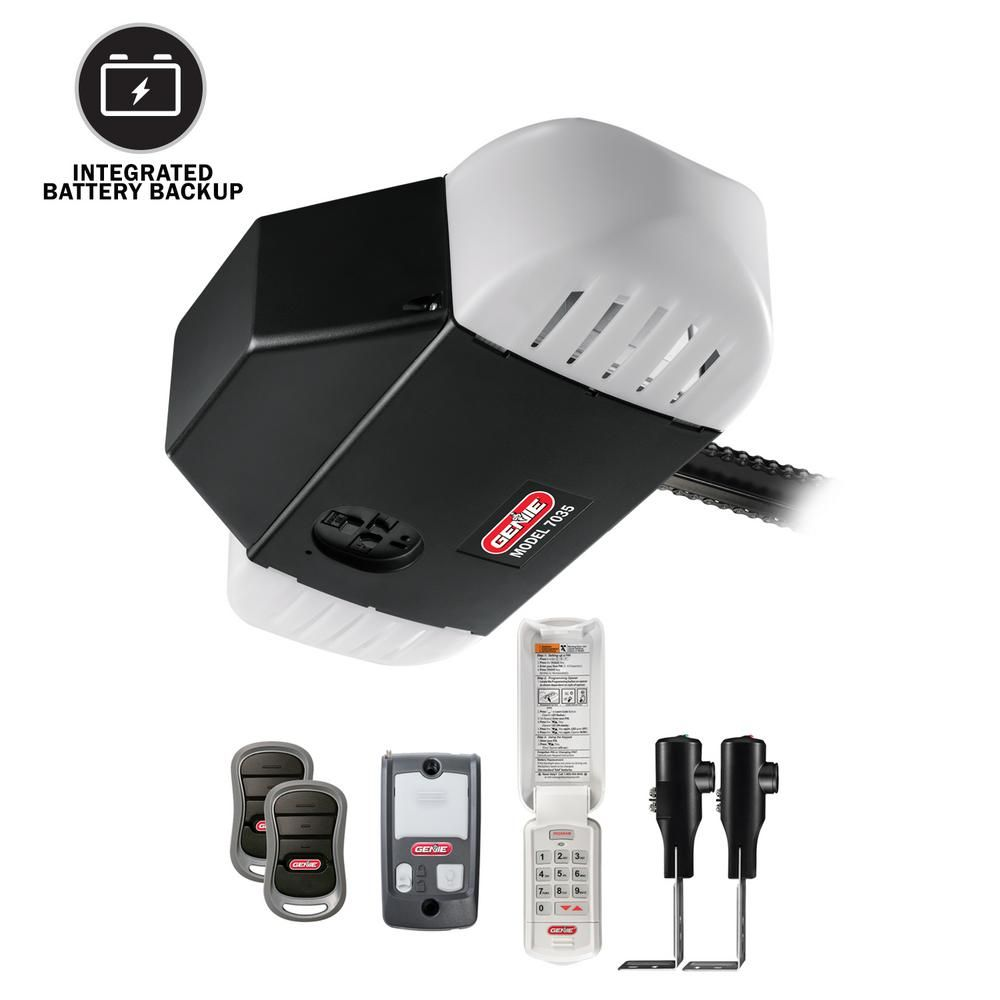 Genie Chaindrive 750 3 4 Hpc Durable Chain Drive Garage Door Opener With Battery Backup 7035 Tkv The Home Depot Garage Doors Garage Door Opener Garage Door Design