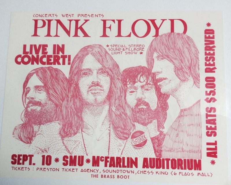 Mcfarlin Auditorium Dallas 10th September 1972 Band Posters Music Poster Pink Floyd Live