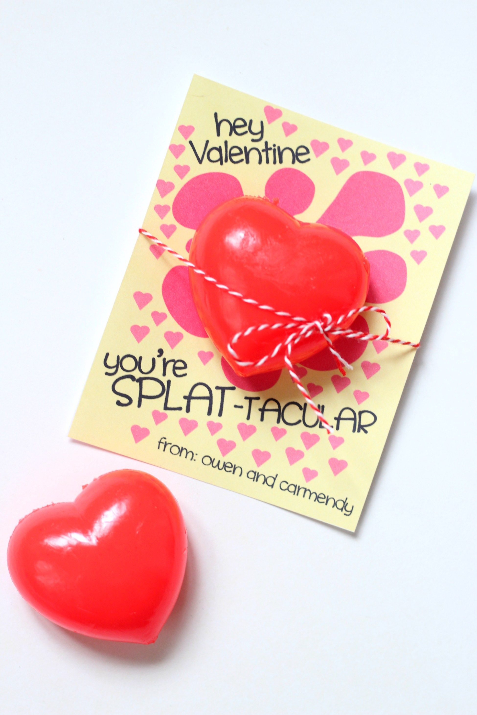 Heart Splat Ball Valentines - non-candy valentine idea with sticky heart toy